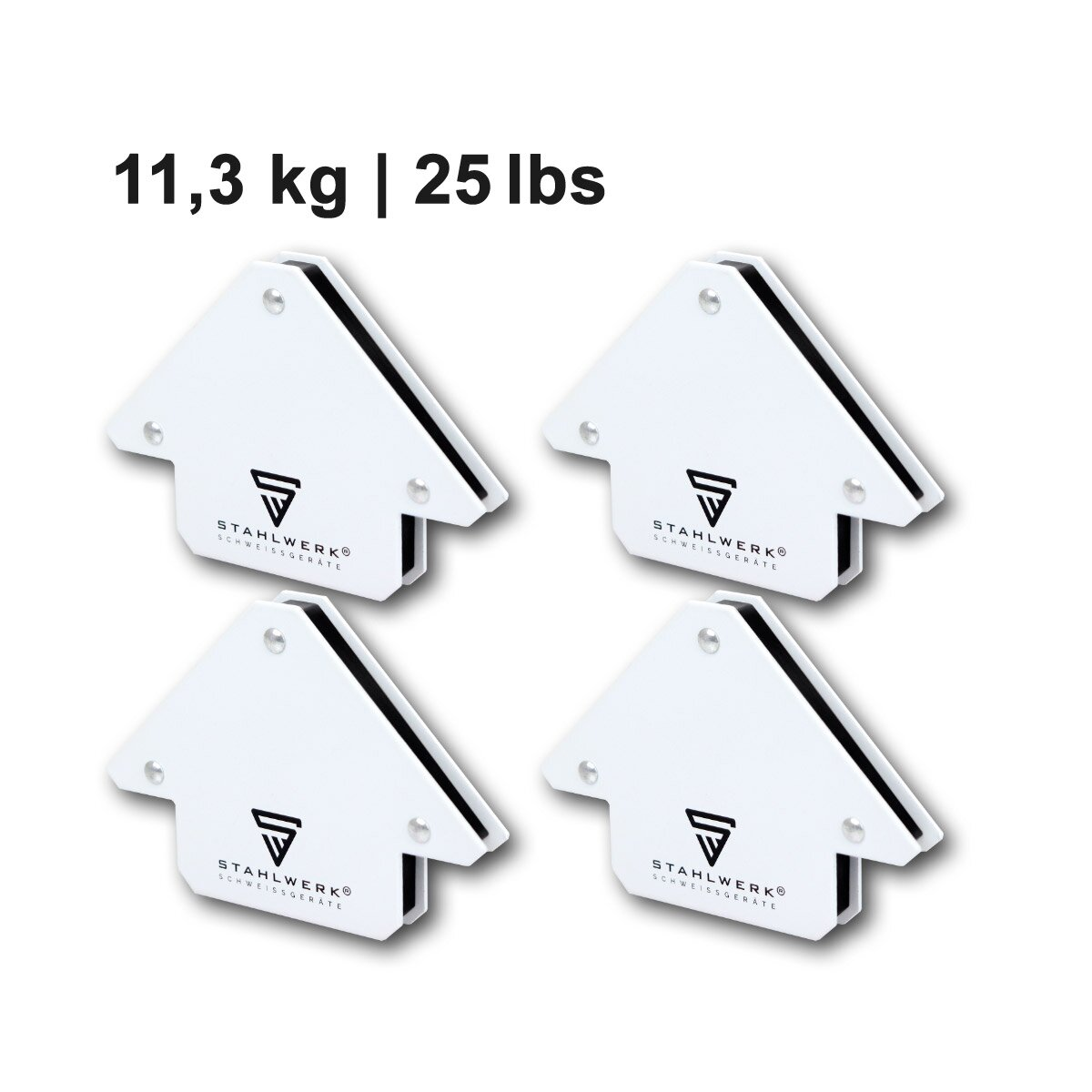 Haftkraft jeweils 9 lbs // 4 kg 45/° x 90/° x 135/° 4 /× STAHLWERK Magnetische Schwei/ßwinkel Magnetwinkel Schwei/ßmagnet Winkelmagnet wei/ß