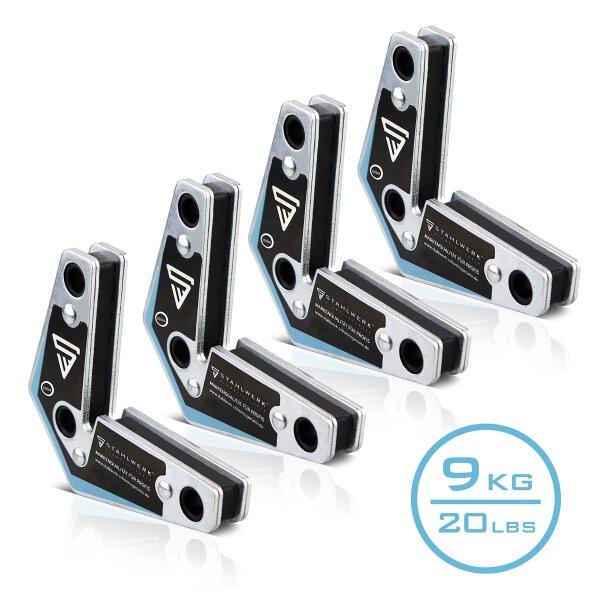 4 × Magnet-Schweißwinkel 20 lbs/ 9kg schwarz-blau