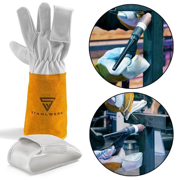 2 × dedo TIG / protección térmica para guantes de soldadura