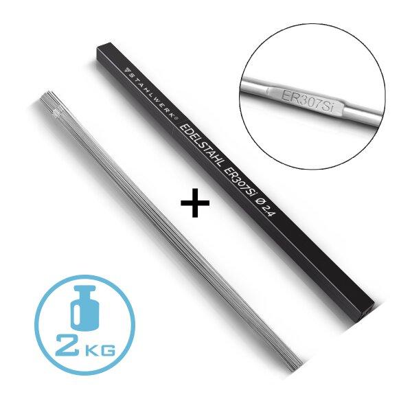 Baguettes de soudage TIG ER307Si acier inoxydable fortement allié / Ø 2,4 mm x 500 mm / 2 kg avec boîte de rangement
