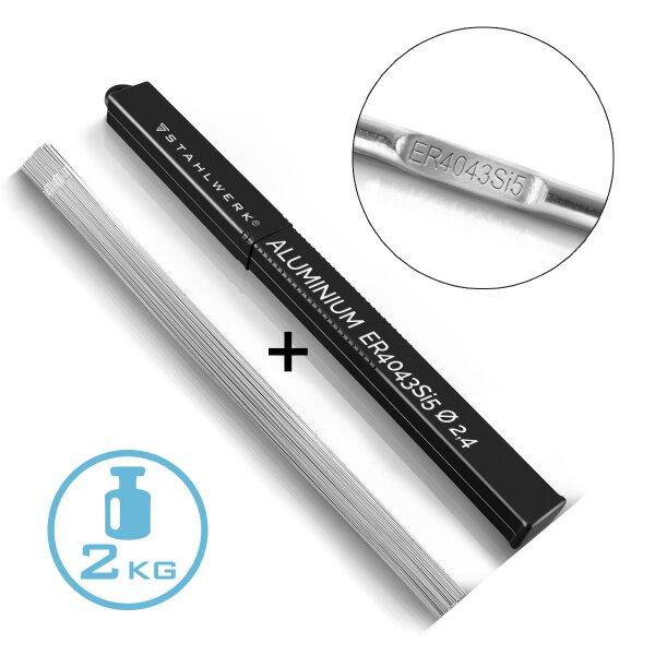WIG Schweißstäbe STAHLWERK ER4043Si5 Aluminium hochlegiert / Ø 2,4 mm x 500 mm  / 2 kg inklusive Aufbewahrungsbox