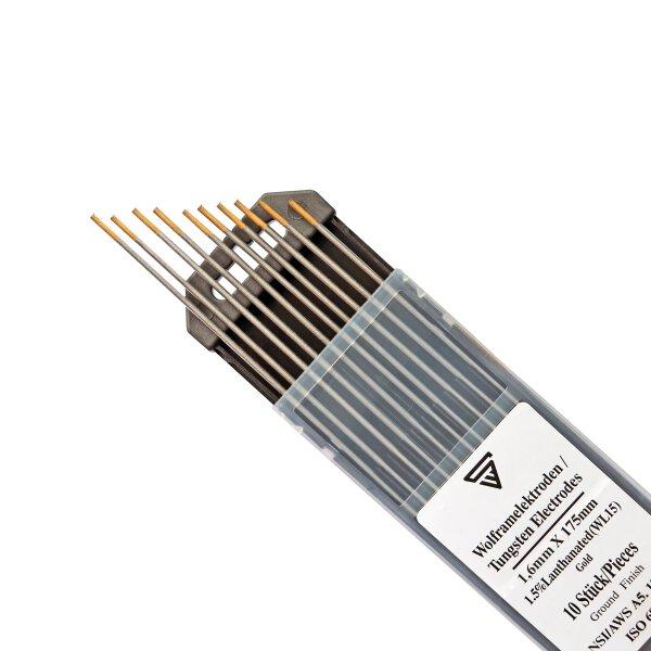Electrodos de tungsteno 1. 6 x 175 mm WL15 dorados