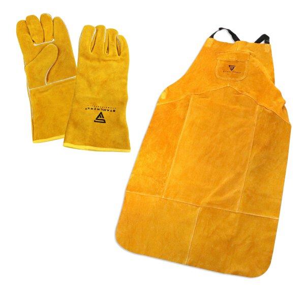 Conjunto de ropa de protección para soldar - delantal de soldadura + guantes gruesos de soldadura