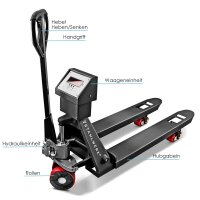 Pallet truck with scale up to 3000kg, 1150mm fork length
