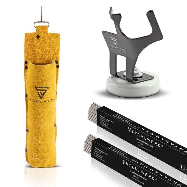 Conjunto: varillas para soldar STAHLWERK E6013RR + bolsa para varillas para soldar + soporte para portaelectrodo accesorio ARC
