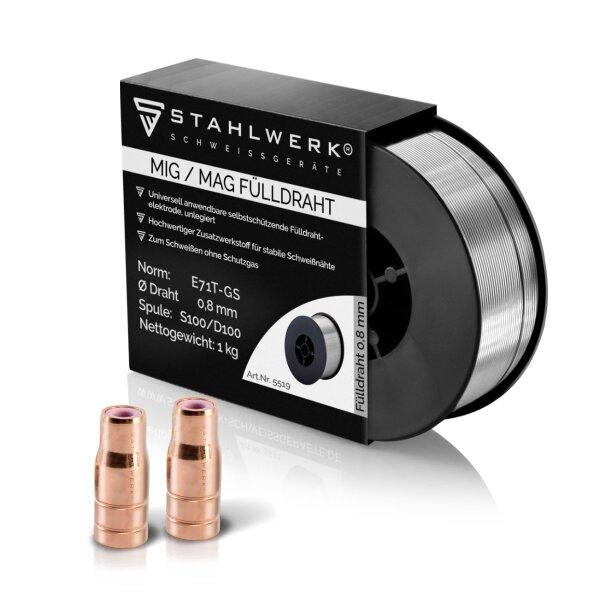 STAHLWERK Set flux cored wire nozzle 2 pack + flux cored wire 1 kg 0.8 mm