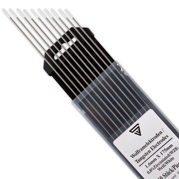 STAHLWERK Électrodes en tungstène 1.6 WZ8 blanches Lot de 10