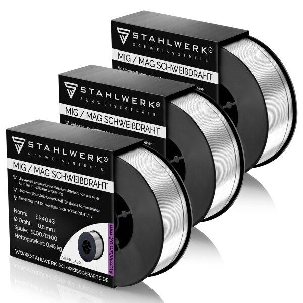 MIG MAG Alluminio Saldatura a filo ER4043 Si5 (ALSI-5) Ø 0,8 mm 0,45kg Rotolo Set di 3