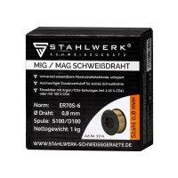MIG MAG Schweißdraht ER70S-6 SG3 Ø 0,8 mm S100/D100 Rolle 1 kg