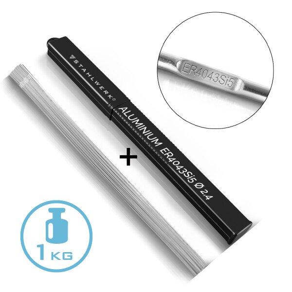 TIG Welding Filler Rods ER4043 Si5 Aluminum / Ø 2,4 x 500 mm / 1,0 kg including storage box
