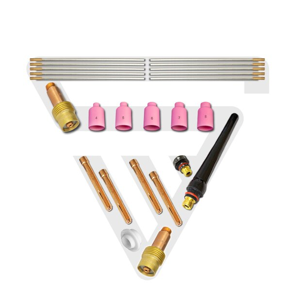 Accessoires de soudage STAHLWERK TIG lentilles de gaz avec manchons de serrage + buses en céramique + électrodes en tungstène, jeu de 24 pièces