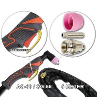 Plasmaschneidbrenner- AG-60 / SG-55 Schlauchpaket 5m bis 70A